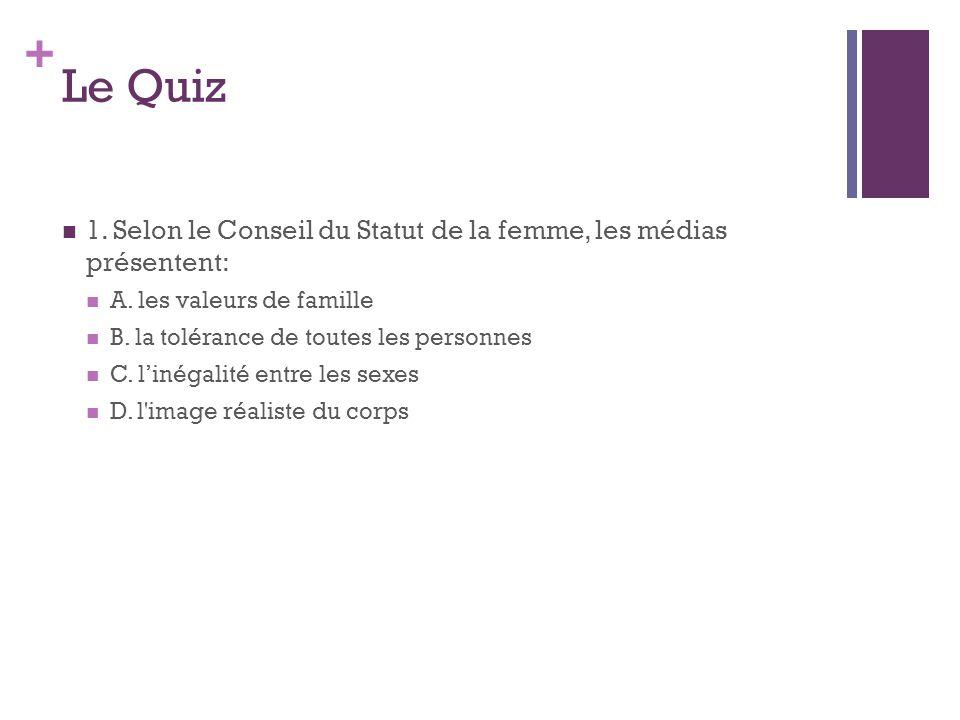 + Le Quiz 1. Selon le Conseil du Statut de la femme, les médias présentent: A. les valeurs de famille B. la tolérance de toutes les personnes C. linég