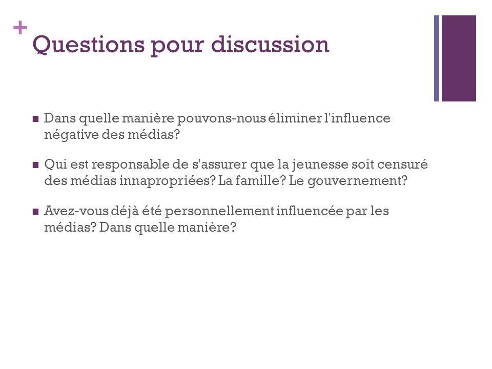 + Questions pour discussion Dans quelle manière pouvons-nous éliminer l'influence négative des médias? Qui est responsable de s'assurer que la jeuness