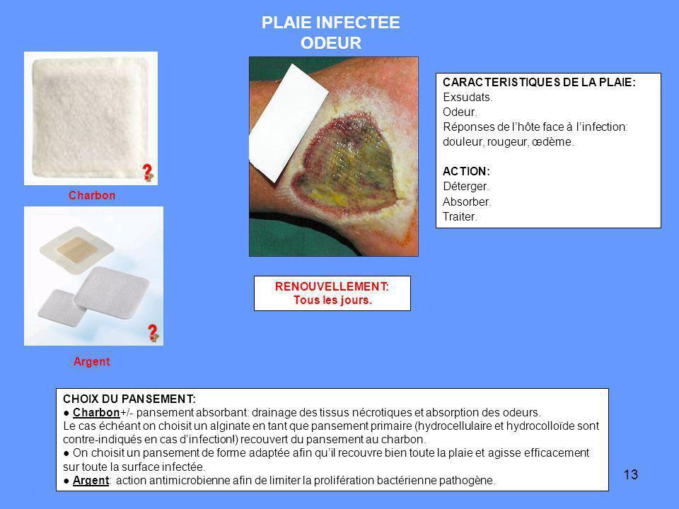 13 PLAIE INFECTEE ODEUR CARACTERISTIQUES DE LA PLAIE: Exsudats. Odeur. Réponses de lhôte face à linfection: douleur, rougeur, œdème. ACTION: Déterger.