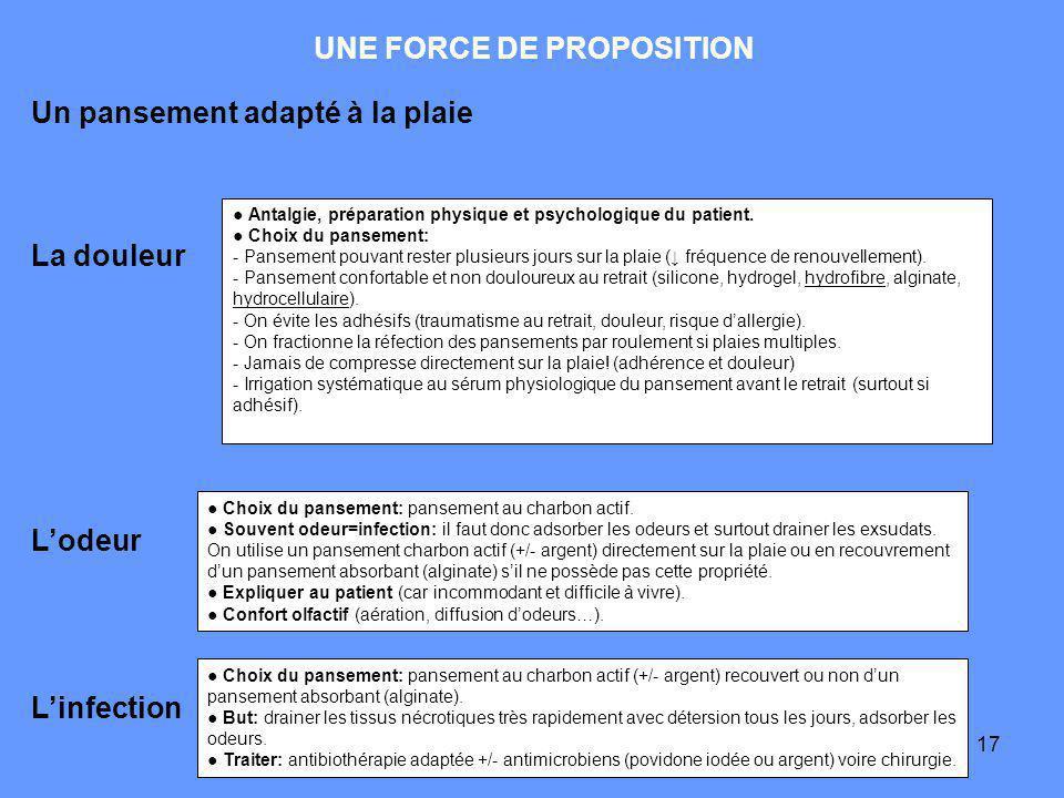 17 UNE FORCE DE PROPOSITION La douleur Antalgie, préparation physique et psychologique du patient.