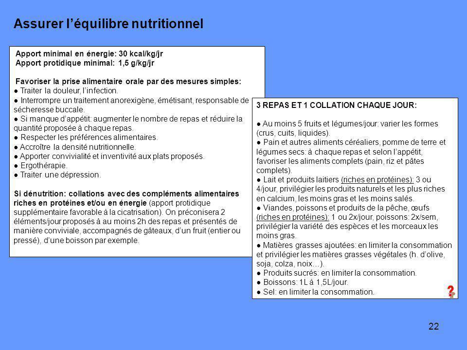 22 Assurer léquilibre nutritionnel Apport minimal en énergie: 30 kcal/kg/jr Apport protidique minimal: 1,5 g/kg/jr Favoriser la prise alimentaire orale par des mesures simples: Traiter la douleur, linfection.