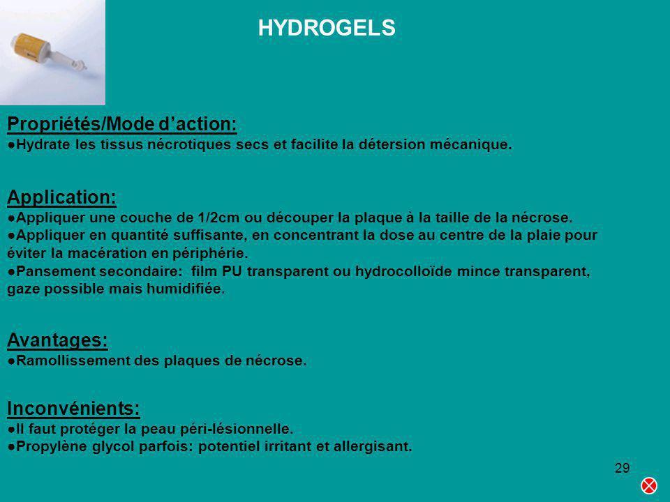 29 HYDROGELS Propriétés/Mode daction: Hydrate les tissus nécrotiques secs et facilite la détersion mécanique. Application: Appliquer une couche de 1/2