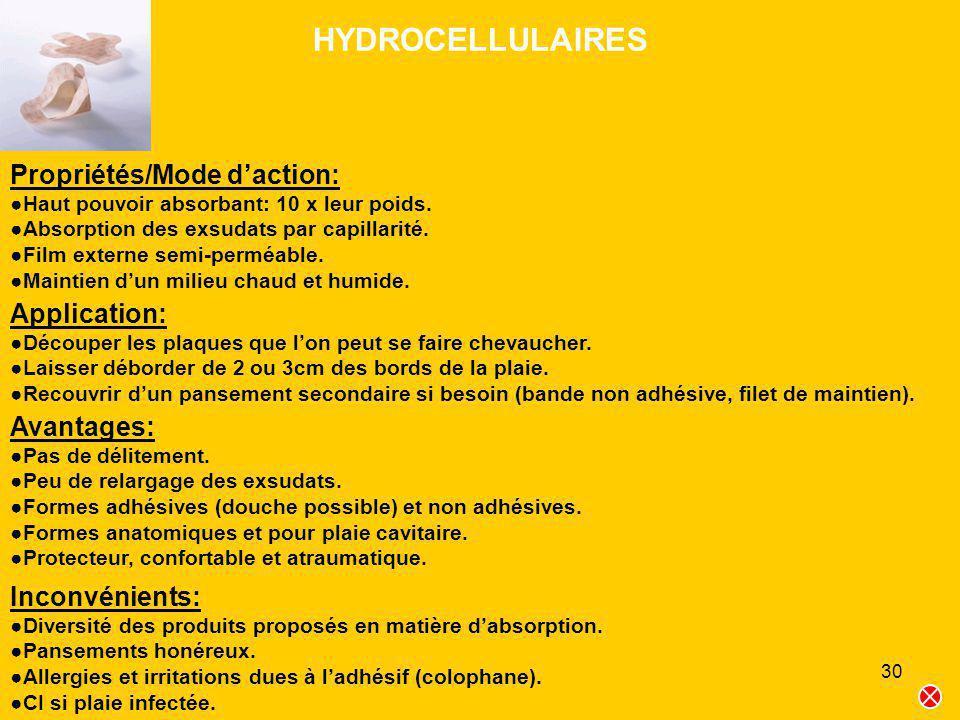 30 HYDROCELLULAIRES Propriétés/Mode daction: Haut pouvoir absorbant: 10 x leur poids. Absorption des exsudats par capillarité. Film externe semi-permé
