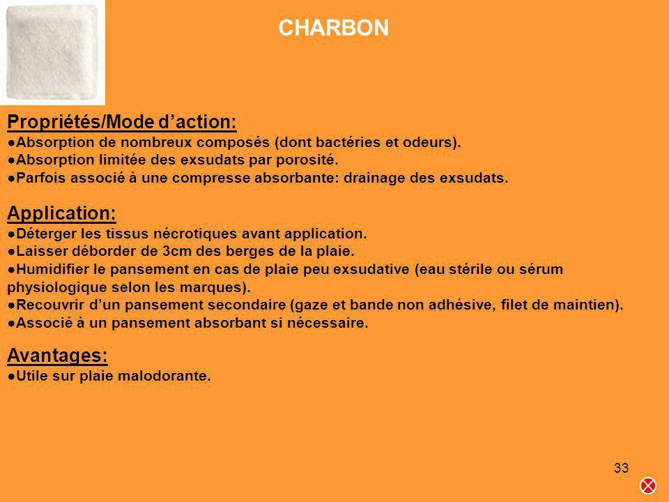 33 CHARBON Propriétés/Mode daction: Absorption de nombreux composés (dont bactéries et odeurs). Absorption limitée des exsudats par porosité. Parfois