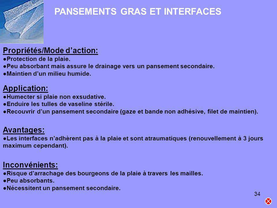 34 PANSEMENTS GRAS ET INTERFACES Propriétés/Mode daction: Protection de la plaie. Peu absorbant mais assure le drainage vers un pansement secondaire.