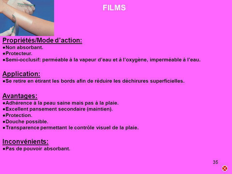 35 FILMS Propriétés/Mode daction: Non absorbant. Protecteur. Semi-occlusif: perméable à la vapeur deau et à loxygène, imperméable à leau. Application: