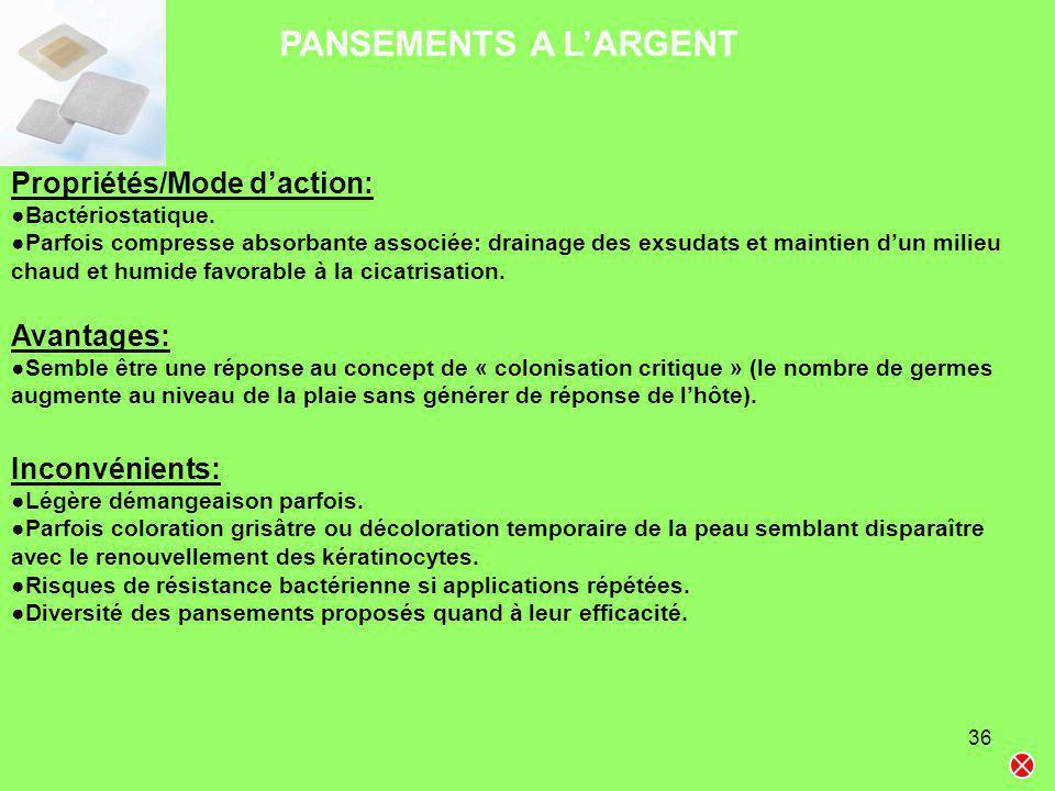 36 PANSEMENTS A LARGENT Propriétés/Mode daction: Bactériostatique. Parfois compresse absorbante associée: drainage des exsudats et maintien dun milieu
