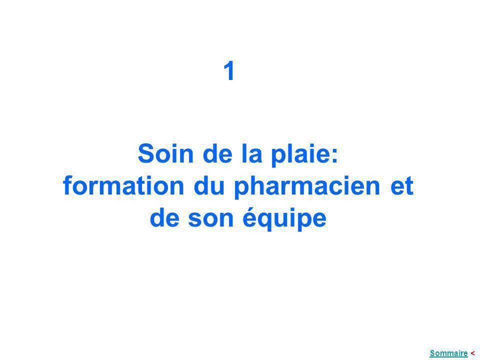 Soin de la plaie: formation du pharmacien et de son équipe 1 SommaireSommaire <