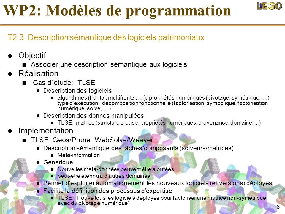 6 WP2: Modèles de programmation T2.3: Description sémantique des logiciels patrimoniaux Objectif Associer une description sémantique aux logiciels Réa