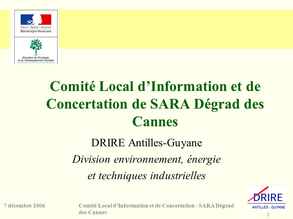 1 Comité Local dInformation et de Concertation - SARA Dégrad des Cannes 7 décembre 2006 Comité Local dInformation et de Concertation de SARA Dégrad de
