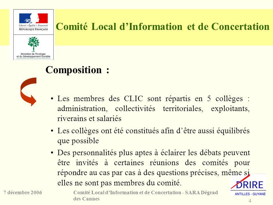 4 Comité Local dInformation et de Concertation - SARA Dégrad des Cannes 7 décembre 2006 Comité Local dInformation et de Concertation Composition : Les