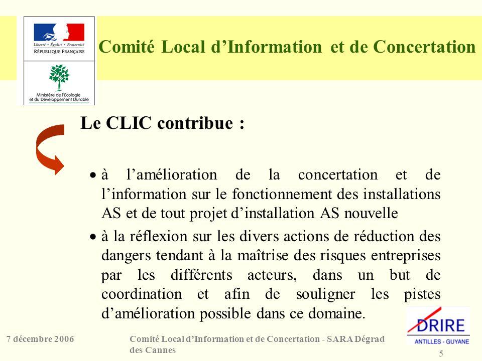 5 Comité Local dInformation et de Concertation - SARA Dégrad des Cannes 7 décembre 2006 Comité Local dInformation et de Concertation Le CLIC contribue