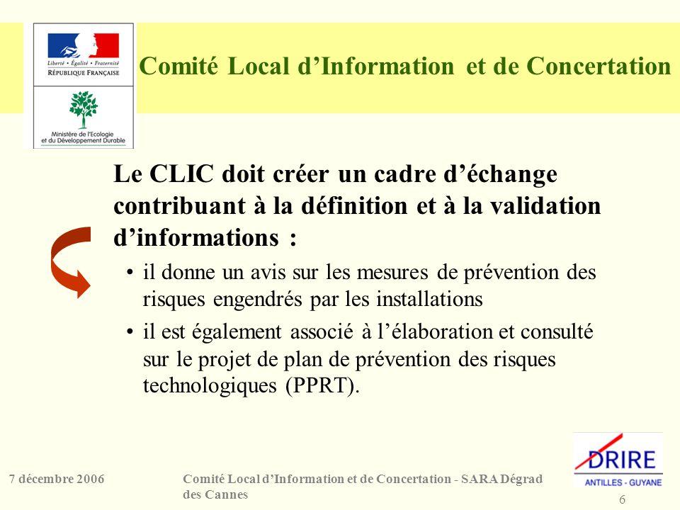 6 Comité Local dInformation et de Concertation - SARA Dégrad des Cannes 7 décembre 2006 Comité Local dInformation et de Concertation Le CLIC doit crée