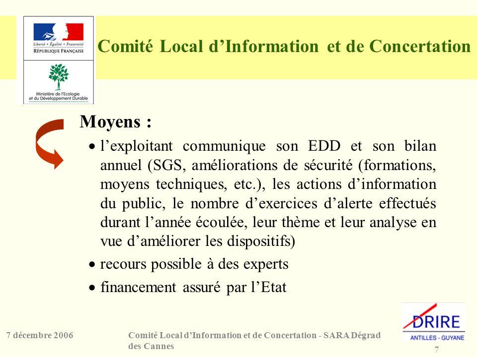 7 Comité Local dInformation et de Concertation - SARA Dégrad des Cannes 7 décembre 2006 Comité Local dInformation et de Concertation Moyens : lexploit