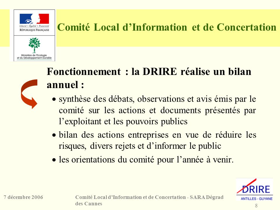 8 Comité Local dInformation et de Concertation - SARA Dégrad des Cannes 7 décembre 2006 Comité Local dInformation et de Concertation Fonctionnement :