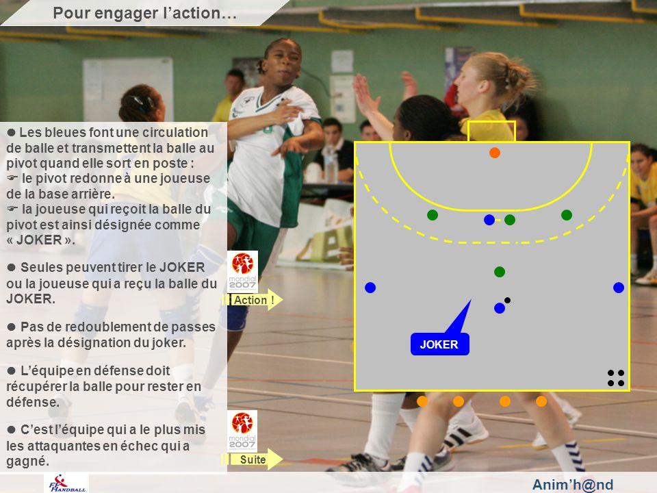 Animh@nd Les bleues font une circulation de balle et transmettent la balle au pivot quand elle sort en poste : le pivot redonne à une joueuse de la base arrière.