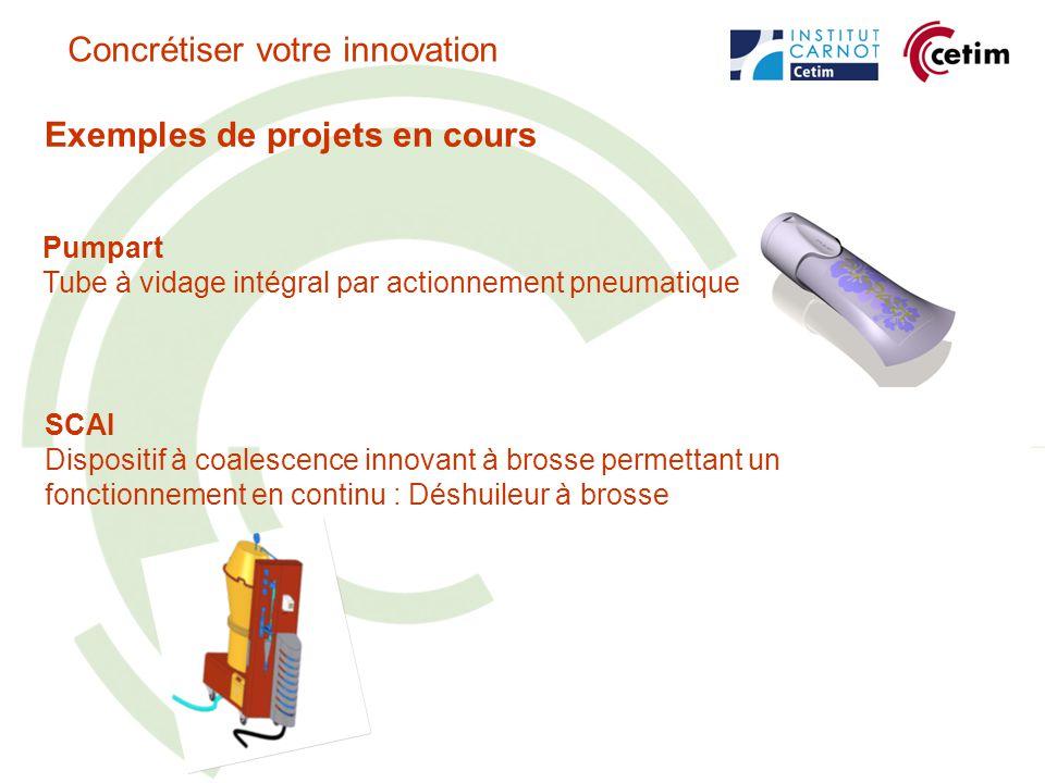 Exemples de projets en cours Pumpart Tube à vidage intégral par actionnement pneumatique Concrétiser votre innovation SCAI Dispositif à coalescence innovant à brosse permettant un fonctionnement en continu : Déshuileur à brosse
