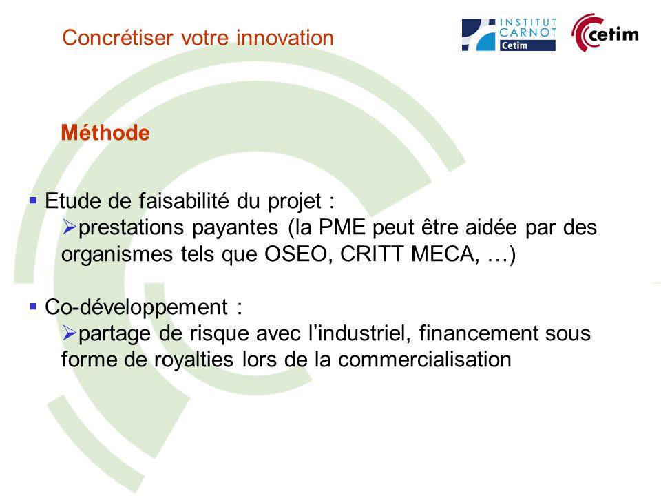 Méthode Etude de faisabilité du projet : prestations payantes (la PME peut être aidée par des organismes tels que OSEO, CRITT MECA, …) Co-développement : partage de risque avec lindustriel, financement sous forme de royalties lors de la commercialisation Concrétiser votre innovation