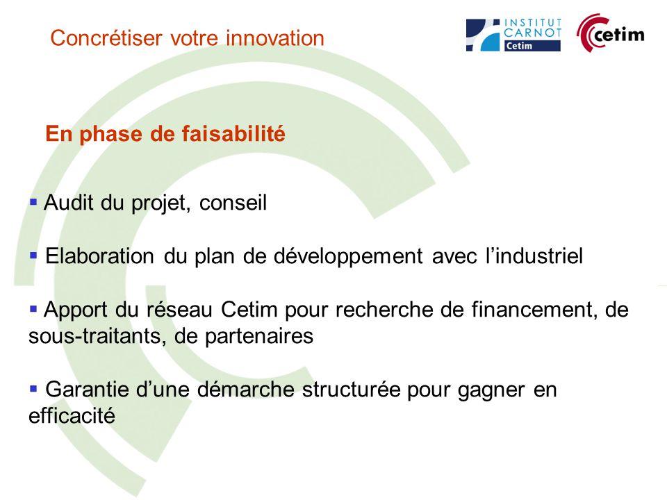 En phase de faisabilité Audit du projet, conseil Elaboration du plan de développement avec lindustriel Apport du réseau Cetim pour recherche de financement, de sous-traitants, de partenaires Garantie dune démarche structurée pour gagner en efficacité Concrétiser votre innovation