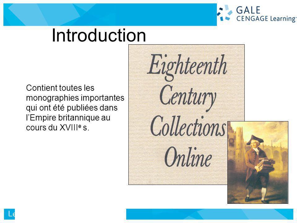 Contient toutes les monographies importantes qui ont été publiées dans lEmpire britannique au cours du XVIII e s.