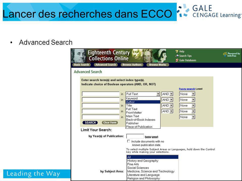 Advanced Search Lancer des recherches dans ECCO