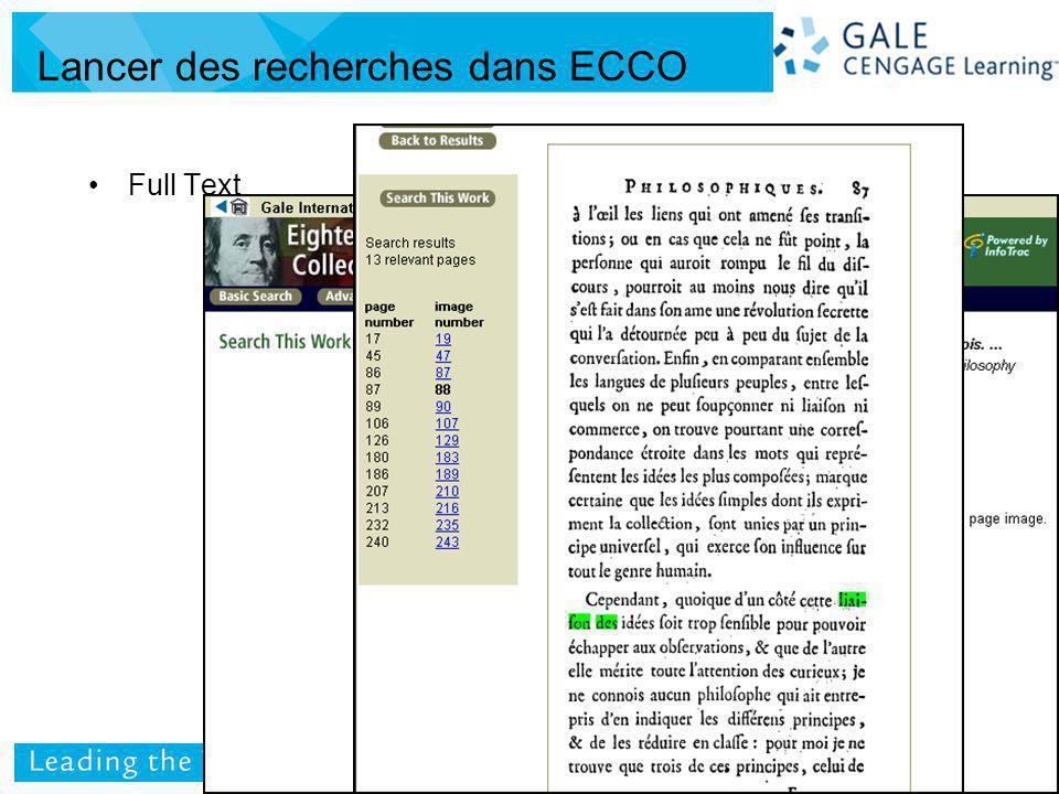 Full Text Lancer des recherches dans ECCO