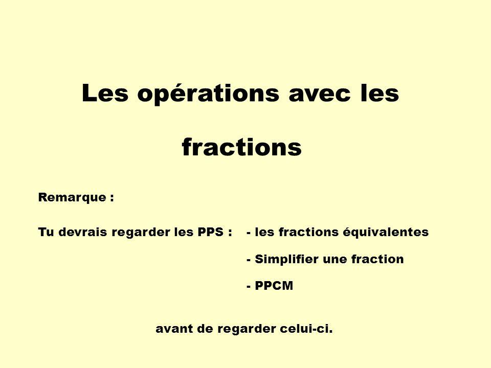 Les opérations avec les fractions Remarque : Tu devrais regarder les PPS :- les fractions équivalentes - PPCM avant de regarder celui-ci. - Simplifier