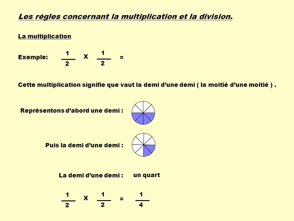 Les règles concernant la multiplication et la division. Exemple: 1 2 1 2 X = 1 4 Cette multiplication signifie que vaut la demi dune demi ( la moitié