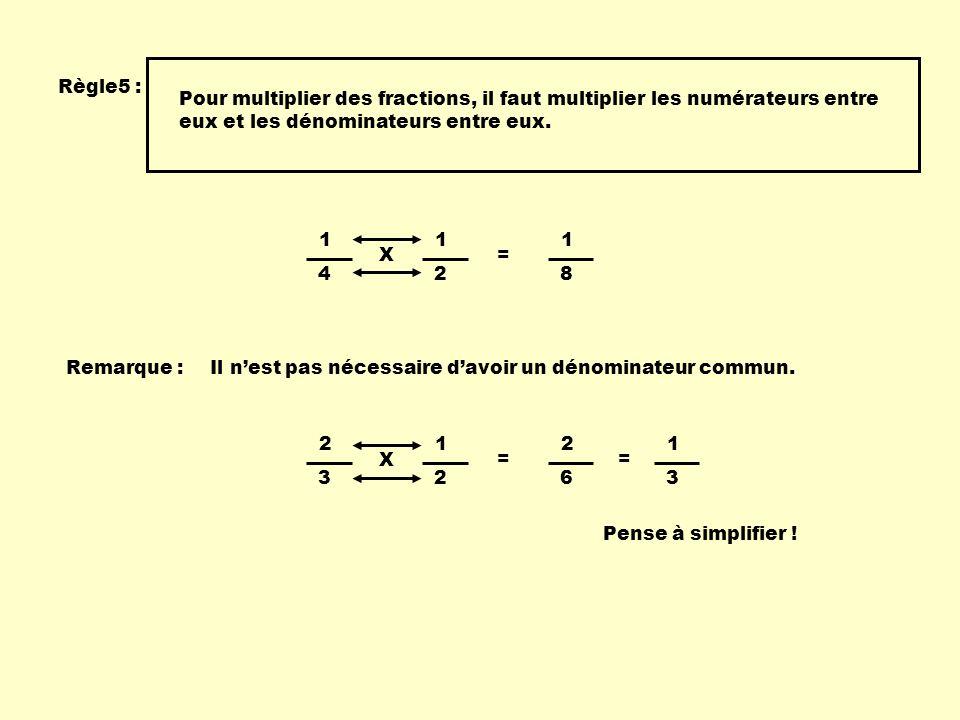 Règle5 : Pour multiplier des fractions, il faut multiplier les numérateurs entre eux et les dénominateurs entre eux. 1 4 1 2 X = 1 8 Remarque :Il nest