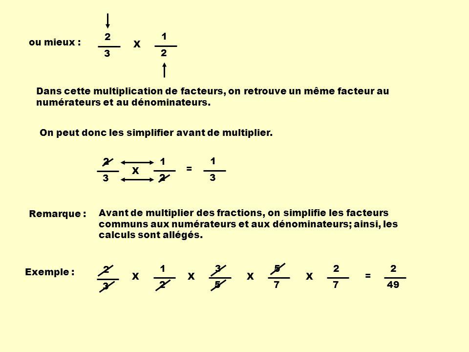 ou mieux : 2 3 1 2 X = 1 3 Dans cette multiplication de facteurs, on retrouve un même facteur au numérateurs et au dénominateurs. On peut donc les sim