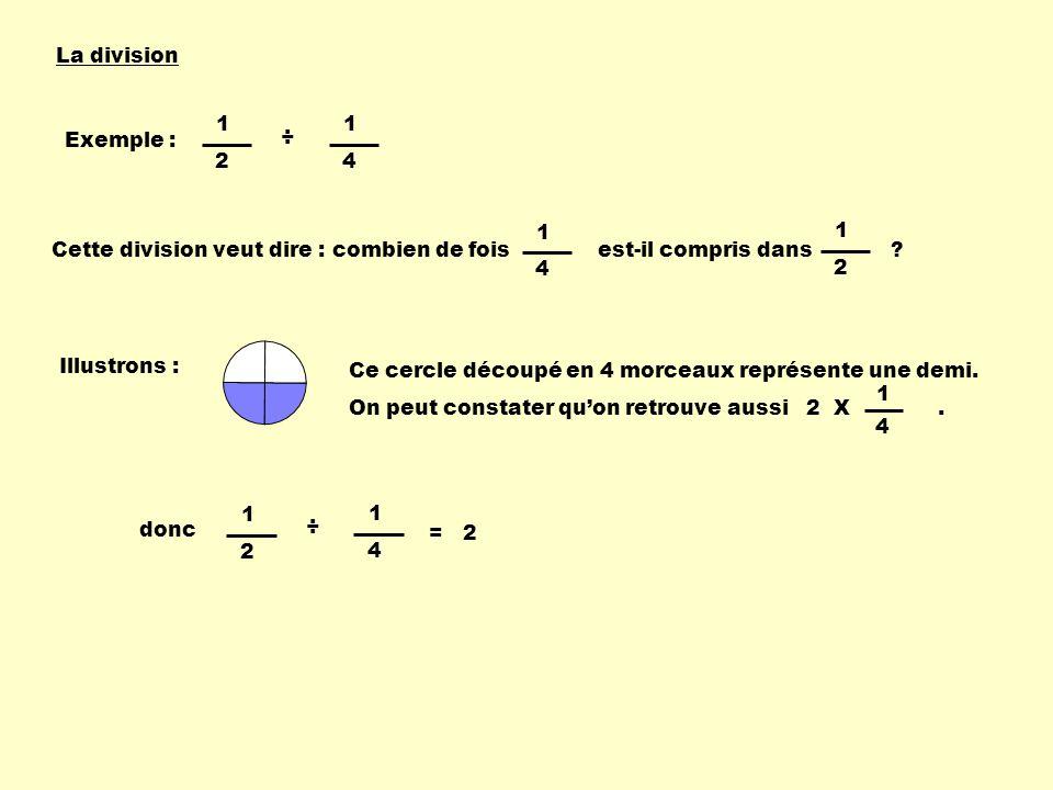 La division Exemple : 1 2 1 4 ÷ Cette division veut dire : combien de fois est-il compris dans ? 1 4 1 2 Illustrons : Ce cercle découpé en 4 morceaux