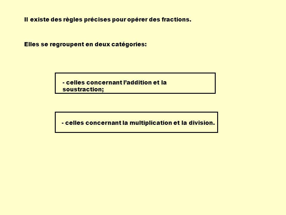 Il existe des règles précises pour opérer des fractions. Elles se regroupent en deux catégories: - celles concernant laddition et la soustraction; - c
