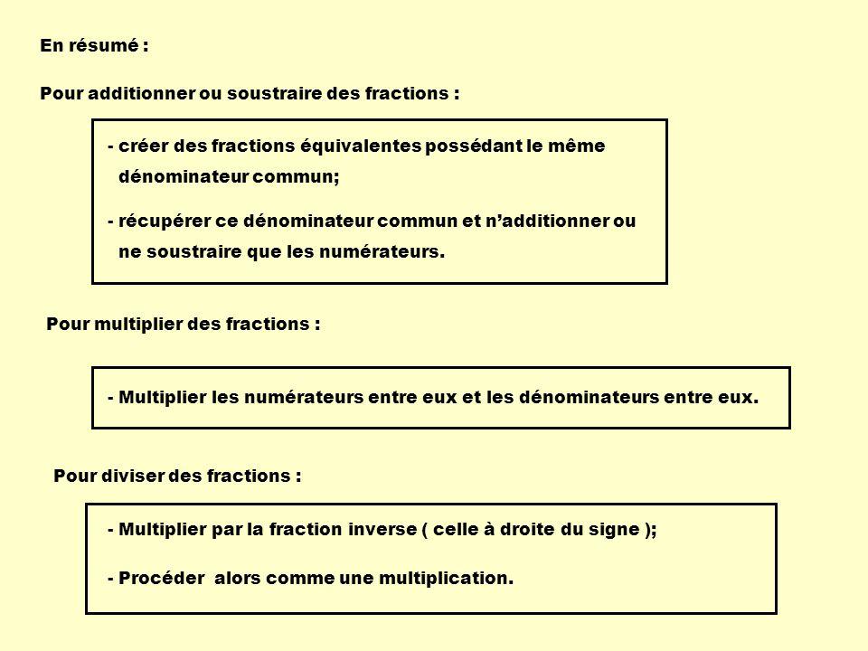 En résumé : Pour additionner ou soustraire des fractions : - créer des fractions équivalentes possédant le même dénominateur commun; - récupérer ce dé