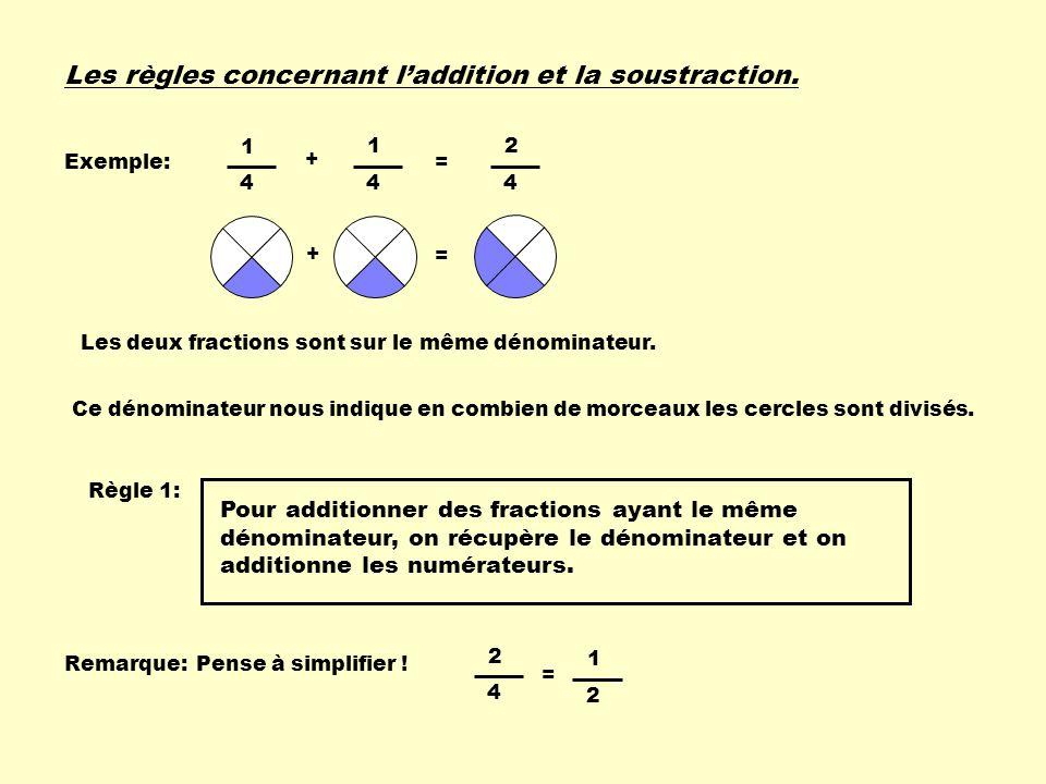 1 4 1 4 + = 2 4 Les règles concernant laddition et la soustraction. = 1 2 Exemple: + = Règle 1: Les deux fractions sont sur le même dénominateur. Ce d
