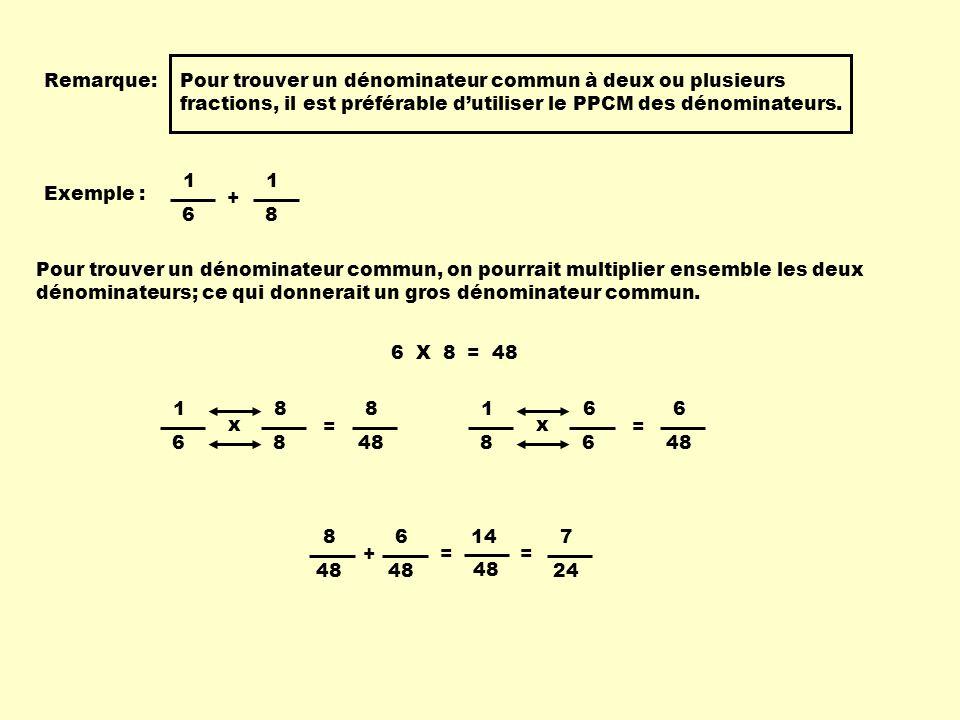Remarque:Pour trouver un dénominateur commun à deux ou plusieurs fractions, il est préférable dutiliser le PPCM des dénominateurs. Exemple : 1 6 1 8 +
