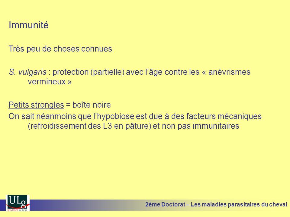 Immunité Très peu de choses connues S. vulgaris : protection (partielle) avec lâge contre les « anévrismes vermineux » Petits strongles = boîte noire