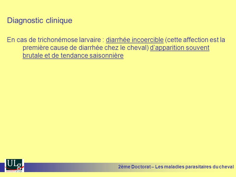 Diagnostic clinique En cas de trichonémose larvaire : diarrhée incoercible (cette affection est la première cause de diarrhée chez le cheval) dapparit