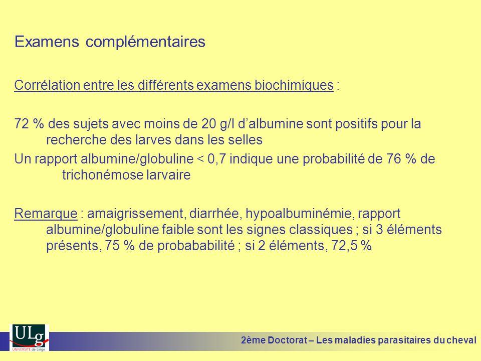 Examens complémentaires Corrélation entre les différents examens biochimiques : 72 % des sujets avec moins de 20 g/l dalbumine sont positifs pour la r