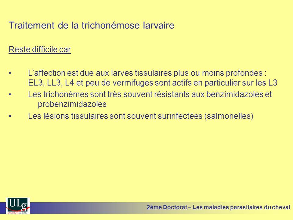 Traitement de la trichonémose larvaire Reste difficile car Laffection est due aux larves tissulaires plus ou moins profondes : EL3, LL3, L4 et peu de