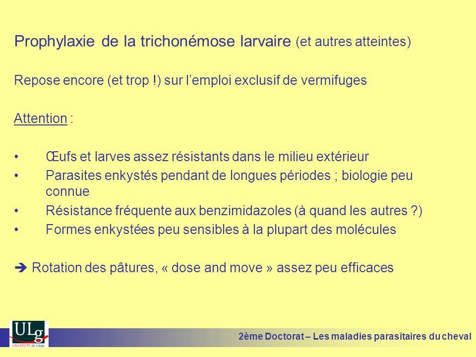 Prophylaxie de la trichonémose larvaire (et autres atteintes) Repose encore (et trop !) sur lemploi exclusif de vermifuges Attention : Œufs et larves