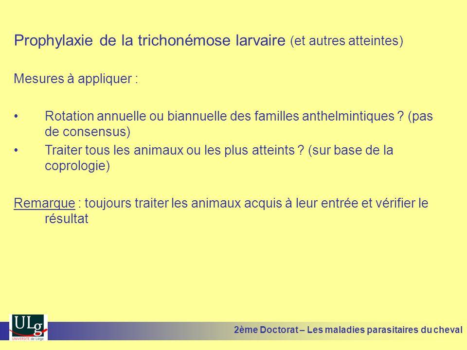 Prophylaxie de la trichonémose larvaire (et autres atteintes) Mesures à appliquer : Rotation annuelle ou biannuelle des familles anthelmintiques ? (pa
