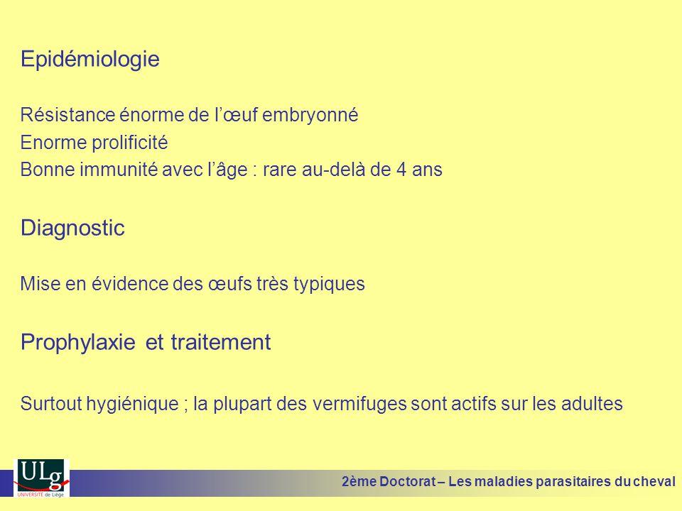 Epidémiologie Résistance énorme de lœuf embryonné Enorme prolificité Bonne immunité avec lâge : rare au-delà de 4 ans Diagnostic Mise en évidence des