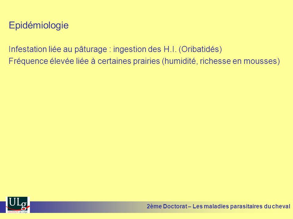 Epidémiologie Infestation liée au pâturage : ingestion des H.I. (Oribatidés) Fréquence élevée liée à certaines prairies (humidité, richesse en mousses