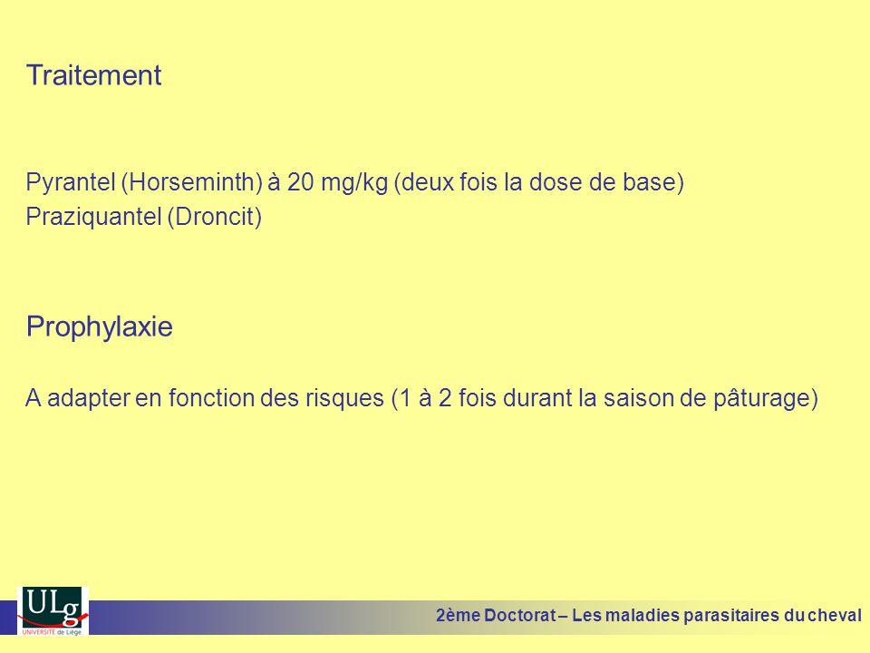 Traitement Pyrantel (Horseminth) à 20 mg/kg (deux fois la dose de base) Praziquantel (Droncit) Prophylaxie A adapter en fonction des risques (1 à 2 fo