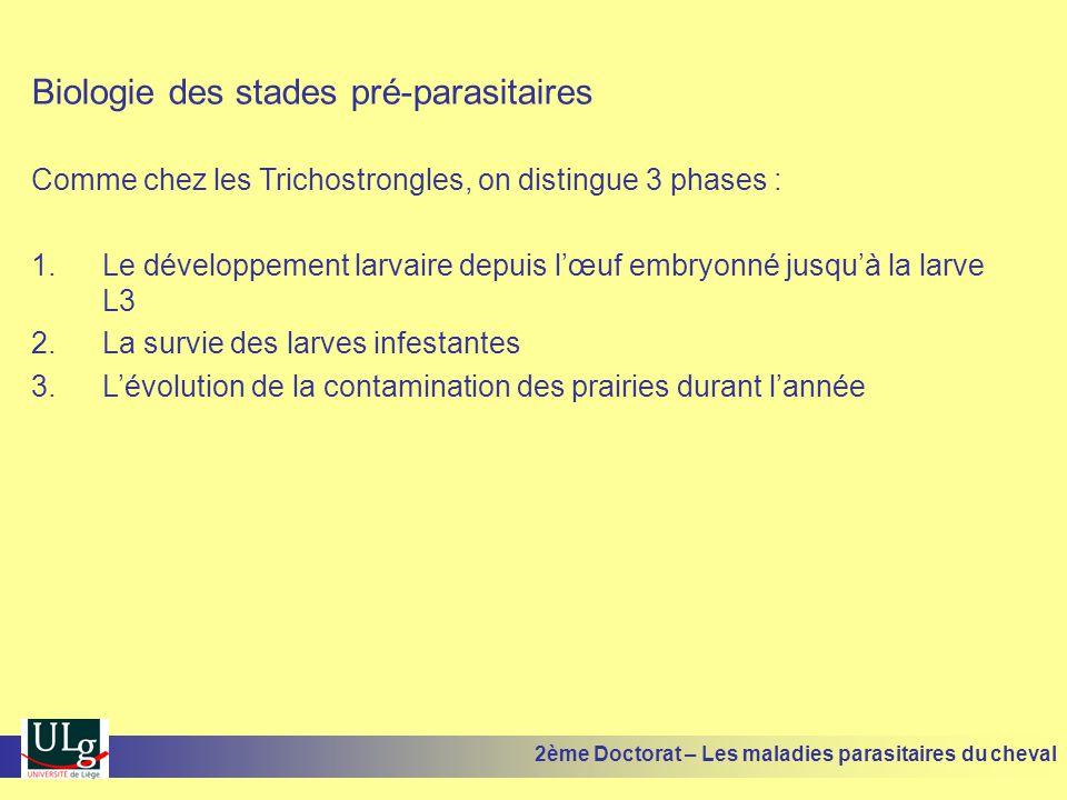 Biologie des stades pré-parasitaires Comme chez les Trichostrongles, on distingue 3 phases : 1.Le développement larvaire depuis lœuf embryonné jusquà