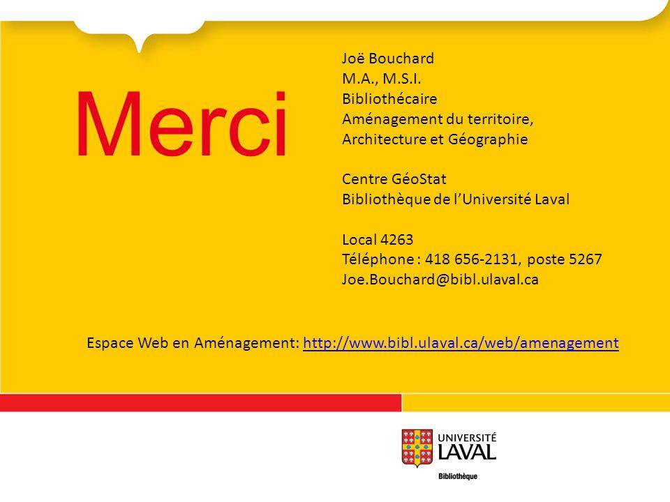 Merci Joë Bouchard M.A., M.S.I. Bibliothécaire Aménagement du territoire, Architecture et Géographie Centre GéoStat Bibliothèque de lUniversité Laval