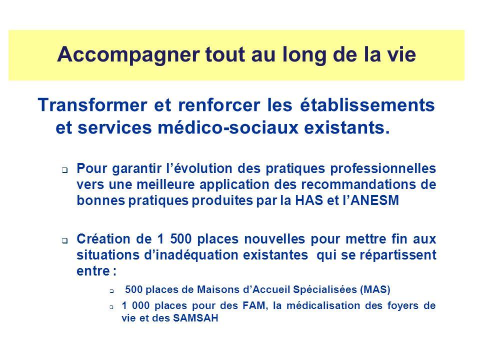 Accompagner tout au long de la vie Transformer et renforcer les établissements et services médico-sociaux existants. Pour garantir lévolution des prat