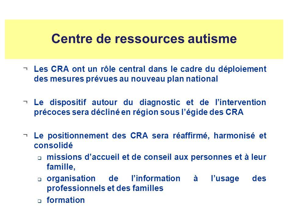 Centre de ressources autisme ¬Les CRA ont un rôle central dans le cadre du déploiement des mesures prévues au nouveau plan national ¬Le dispositif autour du diagnostic et de lintervention précoces sera décliné en région sous légide des CRA ¬Le positionnement des CRA sera réaffirmé, harmonisé et consolidé missions daccueil et de conseil aux personnes et à leur famille, organisation de linformation à lusage des professionnels et des familles formation