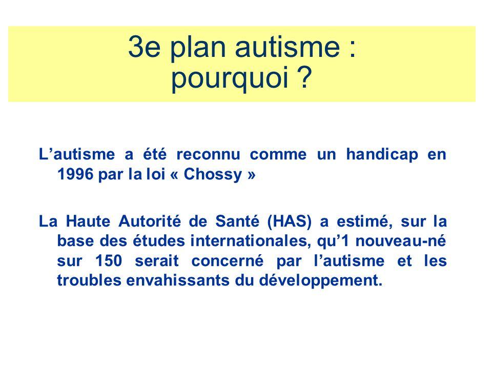 3e plan autisme : pourquoi ? Lautisme a été reconnu comme un handicap en 1996 par la loi « Chossy » La Haute Autorité de Santé (HAS) a estimé, sur la
