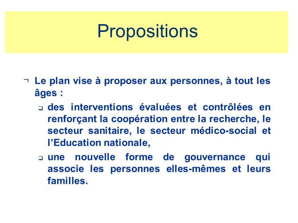 Propositions ¬Le plan vise à proposer aux personnes, à tout les âges : des interventions évaluées et contrôlées en renforçant la coopération entre la